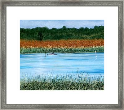 Framed Print featuring the pastel St. Marks Fishing by Jan Amiss
