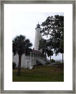 St. Marks Lighthouse Before The Rain Framed Print by Warren Thompson
