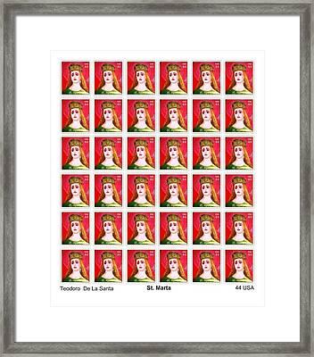 St Marta 36 Postage Stamps Framed Print by Teodoro De La Santa