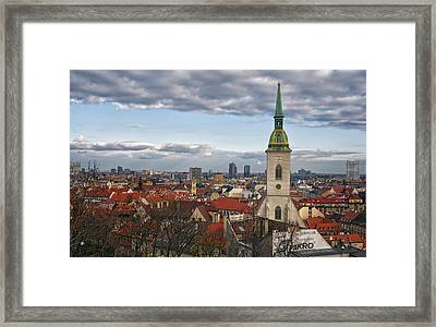 St Martin's Cathedral And Bratislava Framed Print by Joan Carroll