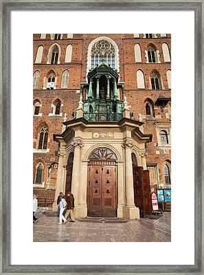 St Mary Basilica Main Door In Of Krakow Framed Print by Artur Bogacki