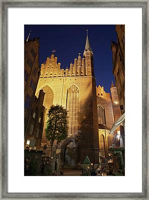 St Mary Church In Gdansk At Night Framed Print