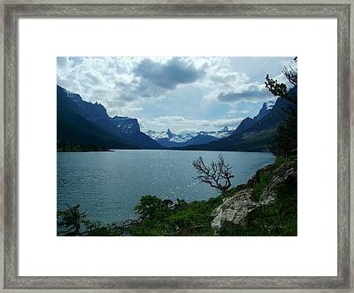 St Mary Lake, Incoming Storm Framed Print