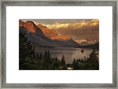 St Mary Lake Sunrise From Wild Goose Island Overlook Framed Print by Thomas Schoeller