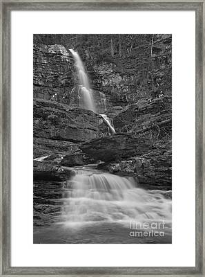 St Mary Triple Cascades - Black And White Framed Print by Adam Jewell