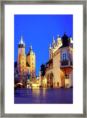 Framed Print featuring the photograph St. Mary's Basilica And Cloth Hall by Fabrizio Troiani