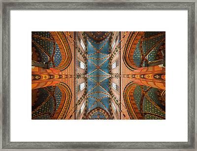St. Mary's Basilica Cross Ribbed Vault In Krakow Framed Print