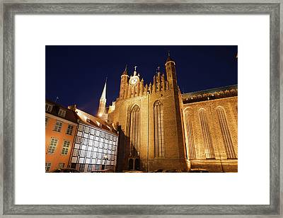 St. Mary's Church At Night In Gdansk Framed Print