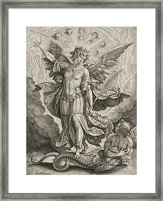 St Michael Triumphing Over The Dragon Framed Print by Hieronymus or Jerome Wierix