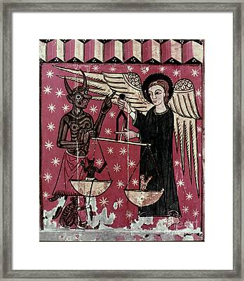 St. Michael Weighing Souls Framed Print by Granger
