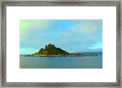St Michaels Mount Marazion Cornwall England Uk Medieval Castle And Church On Island Bright Colours Framed Print