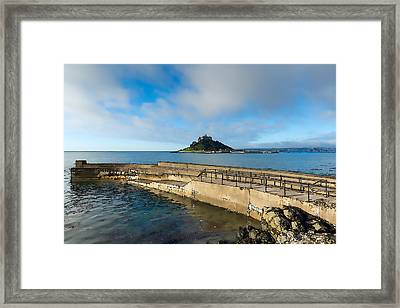 St Michaels Mount With Harbour Wall Cornwall England Uk Medieval Castle And Church On An Island Framed Print