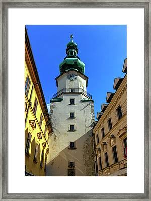 St Michael's Tower In The Old City, Bratislava, Slovakia, Europe Framed Print by Elenarts - Elena Duvernay photo