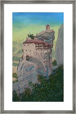St Nicholas Anapapsas Monastery - Meteora - Greece Framed Print by Dan Bozich