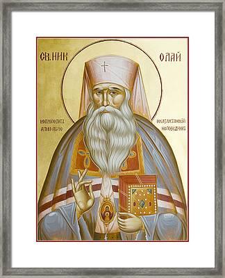 St Nicholas The Confessor Of Alma Ata And Kazakhstan Framed Print by Julia Bridget Hayes