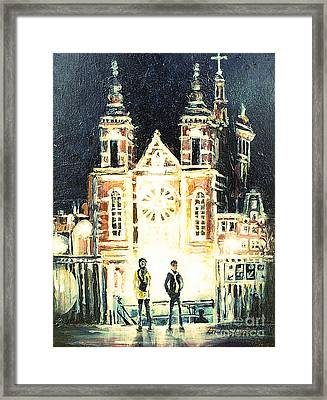 Framed Print featuring the drawing St Nicolaaskerk Church by Linda Shackelford