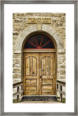 St Olafs Kirke Door Framed Print by Stephen Stookey