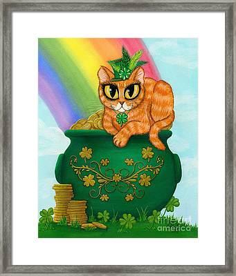 Framed Print featuring the painting St. Paddy's Day Cat - Orange Tabby by Carrie Hawks
