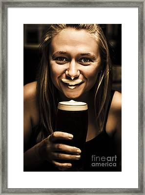 St Patricks Day Woman Imitating An Irish Man Framed Print