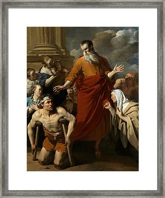 St Paul Healing The Cripple At Lystra Framed Print by Karel Dujardin
