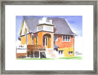 Framed Print featuring the painting St Paul Lutheran In Watercolor 2 by Kip DeVore