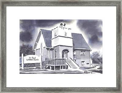 Framed Print featuring the painting St Paul Lutheran With Ink by Kip DeVore