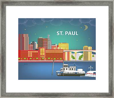 St. Paul Minnesota Horizontal Skyline Framed Print by Karen Young