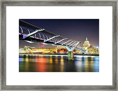 St Paul's Cathedral During Night From The Millennium Bridge Over River Thames, London, United Kingdom. Framed Print