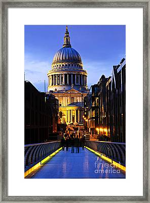 St. Paul's Cathedral From Millennium Bridge Framed Print by Elena Elisseeva