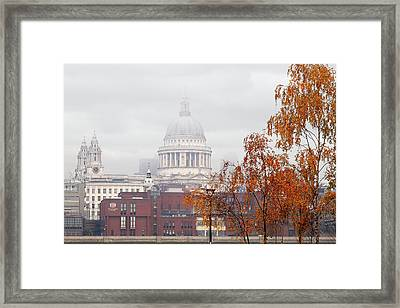 St Pauls Cathedral In The Mist Framed Print by Gill Billington