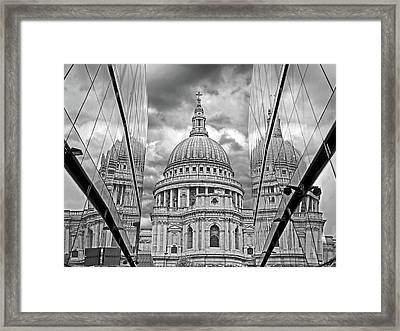 St Pauls Cathedral Reflections - Black And White Framed Print by Gill Billington