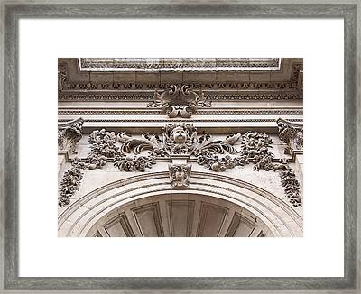 Framed Print featuring the photograph St Paul's Cathedral - Stone Carvings by Rona Black