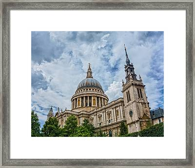 St. Paul's Cathedral Under A Dramatic London Sky Framed Print by James Udall