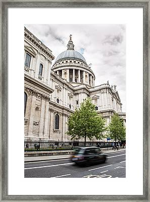 St Pauls Cathedral With Black Taxi Framed Print