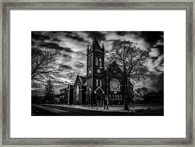 St Pauls United Church Milton  Black And White Framed Print