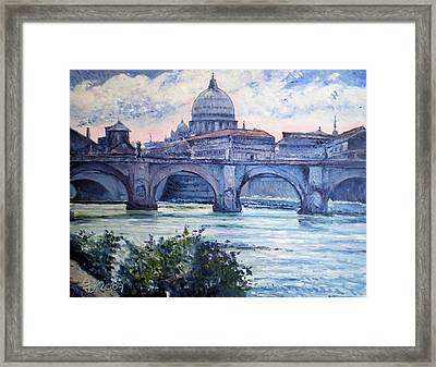 St Peter And Ponte San Angelo Rome Italy 2009 Framed Print by Enver Larney