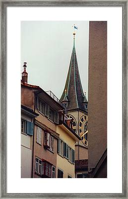 St. Peter Tower Zurich Switzerland Framed Print by Susanne Van Hulst