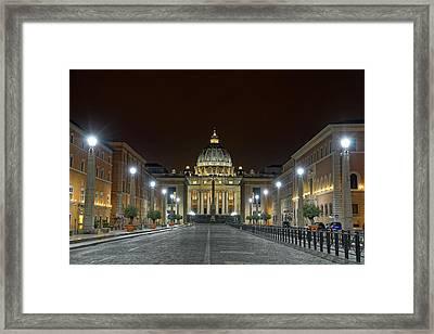 St. Peter's Basilica At Night Framed Print by Brian Kamprath