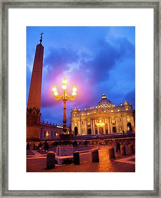 St. Peters Cathedral At Night Framed Print