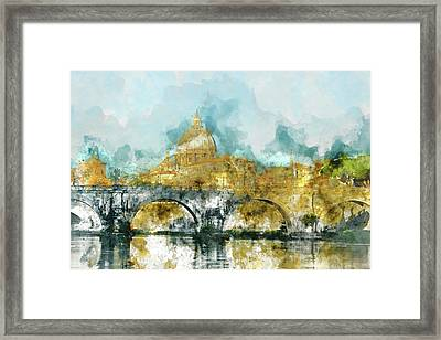 St. Peter's In Vatican City Rome Italy Framed Print by Brandon Bourdages