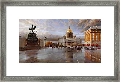 St. Petersburg. St. Isaac's Square At Sunset Framed Print by Ramil Gappasov