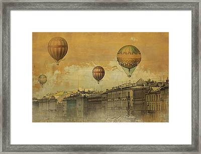 Framed Print featuring the digital art St Petersburg With Air Baloons by Jeff Burgess