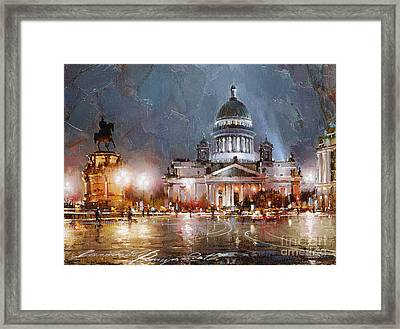 St. Petersburg.isaac Square Framed Print by Ramil Gappasov