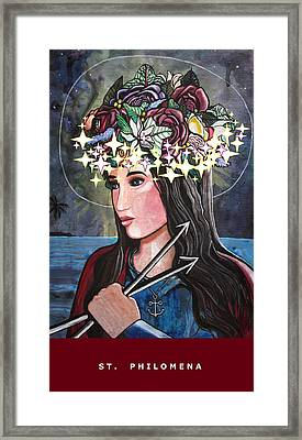 Framed Print featuring the mixed media St. Philomena by Mary Ellen Frazee