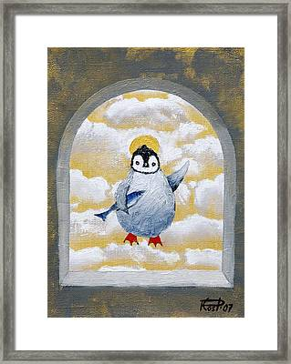 St Pinguin Bringer Of Fish Framed Print by Poul Costinsky