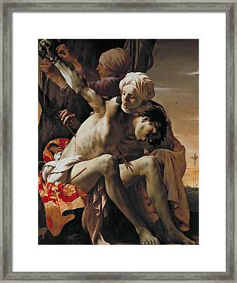 St Sebastian Tended By Irene And Her Maid Framed Print