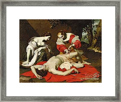 St Sebastian Tended By The Holy Irene Framed Print by Nicholas Renieri