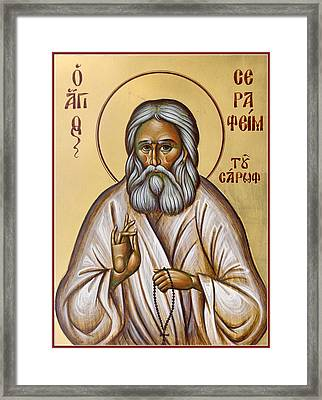 St Seraphim Of Sarov Framed Print by Julia Bridget Hayes