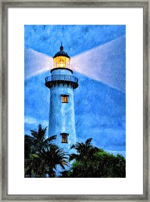 Lights On For You At St. Simons Framed Print