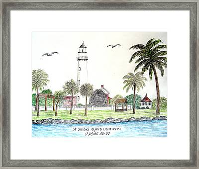 St Simons Island Lighthouse  Framed Print by Frederic Kohli